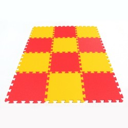 Bodenmatte Puzzlematte MAXI 12 gelb-rot