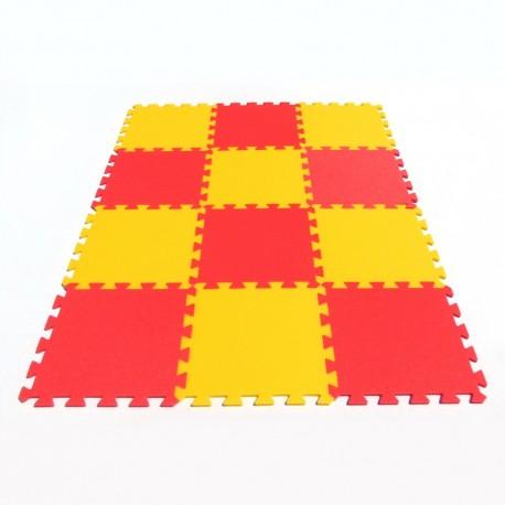 Bodenmatte Puzzlematte MAXI 12 gelb-rot