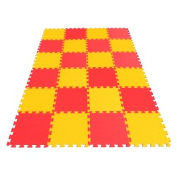 Bodenmatte Puzzlematte MAXI 24 gelb-rot